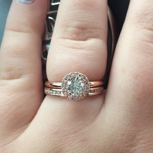 Jewelry - 14k solid rose gold wedding ring set sz 8